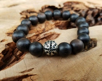Stackable 10mm Tiger Ebony Wood Stretch Bracelet With A Silver British Flag Micro Pave CZ Bead
