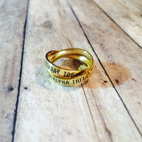 Kappa Alpha Theta Interlocking Quote Rings | Kappa Alpha Theta Ring | Theta  Ring | Quote Ring | Sorority Ring | Interlocking Rings