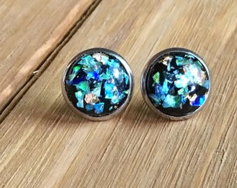 032db8afe Stud earrings, cabochon studs, black studs, teal studs, galaxy studs,  cabochons, 12mm studs, gold flecks, gifts for her, stocking stuffers