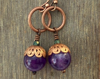 Purple earrings/Amethyst earrings/Dangle Earrings/Amethyst Stone/Copper Swirl/Metallic Green/Antiqued Copper/Boho Earrings/Artsy earrings