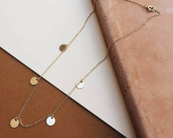 Gold Filled/ Sterling Silver 5 Disc Necklace Choker Layering Necklace Dainty Necklace