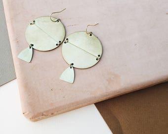 THE GEO: Geometric Statement Earrings- Brass/ Gold-Filled Statement Earrings Dangle Earrings