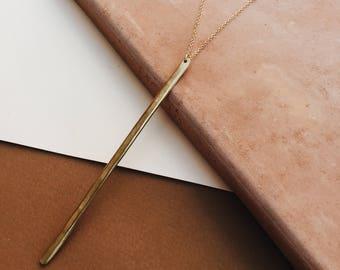 REVERIE: Long Gold Filled Hammered Bar Necklace