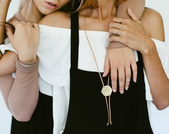 HEXAGON BOLO NECKLACE Leather Lariat Brass lariat Necklace