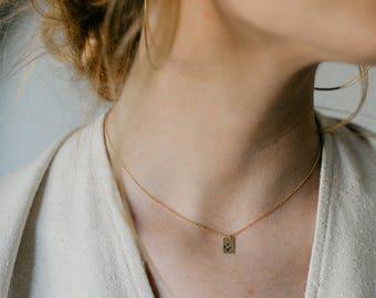 Stamped Gold Filled Necklace Bar Necklace Charm Necklace stamped necklace Disc Necklace