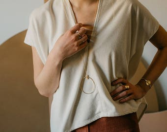 Largo Necklace: Statement Necklace Long Gold Necklace Layering Necklace Sterling Silver Necklace Statement