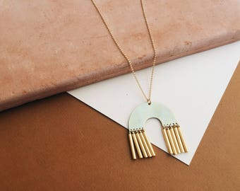 ABODE: Gold Filled Long Necklace Geometric Necklace Statement Necklace Gold Pendant Necklace