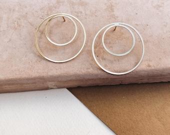 DOUBLE HOOP: hoop earrings, gold hoops, statement earrings, geometric earrings, minimalist earrings, gold earrings