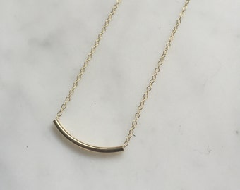 Gold Filled Tube Necklace minimalist necklace