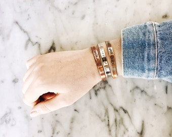 Customized Metal Cuff Bracelet, 1/4 inch, Hand Stamped, Fully Customizable, Copper, Brass, Silver