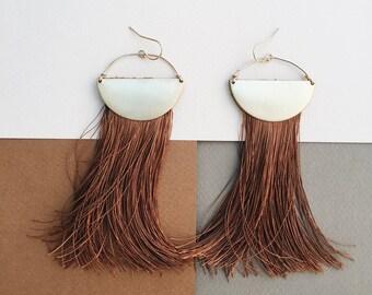 ON THE MOVE: Pure Silk Fringe Statement Earrings Tassel Earrings Dangle Earrings Geometric Earrings