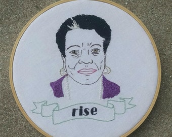 Embroidered Maya Angelou Portrait. Modern Hand Embroidery. Gifts for Her. Poet. Wall Art. Civil Rights Hero. Feminist. Stitched Hoop Art.