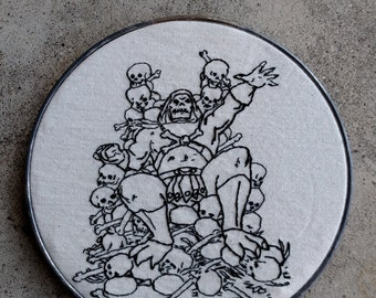 Skeletor! Epic He-Man Villain. Hand Embroidered. Hoop Art. Retro. 80's. Childhood.