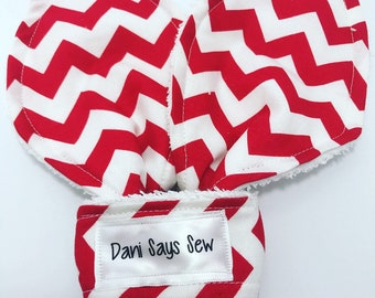 Red and White Chevron Oversized Bunny Ear Teether Wood Teething Ring Gender Neutral Baby Boy Baby Girl