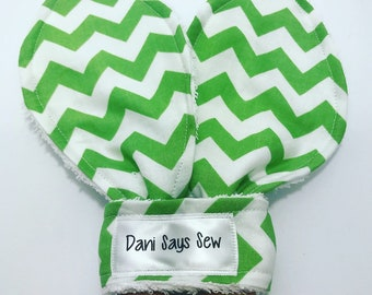 Green and White Chevron Oversized Bunny Ear Teether Wood Teething Ring Gender Neutral Baby Boy Baby Girl