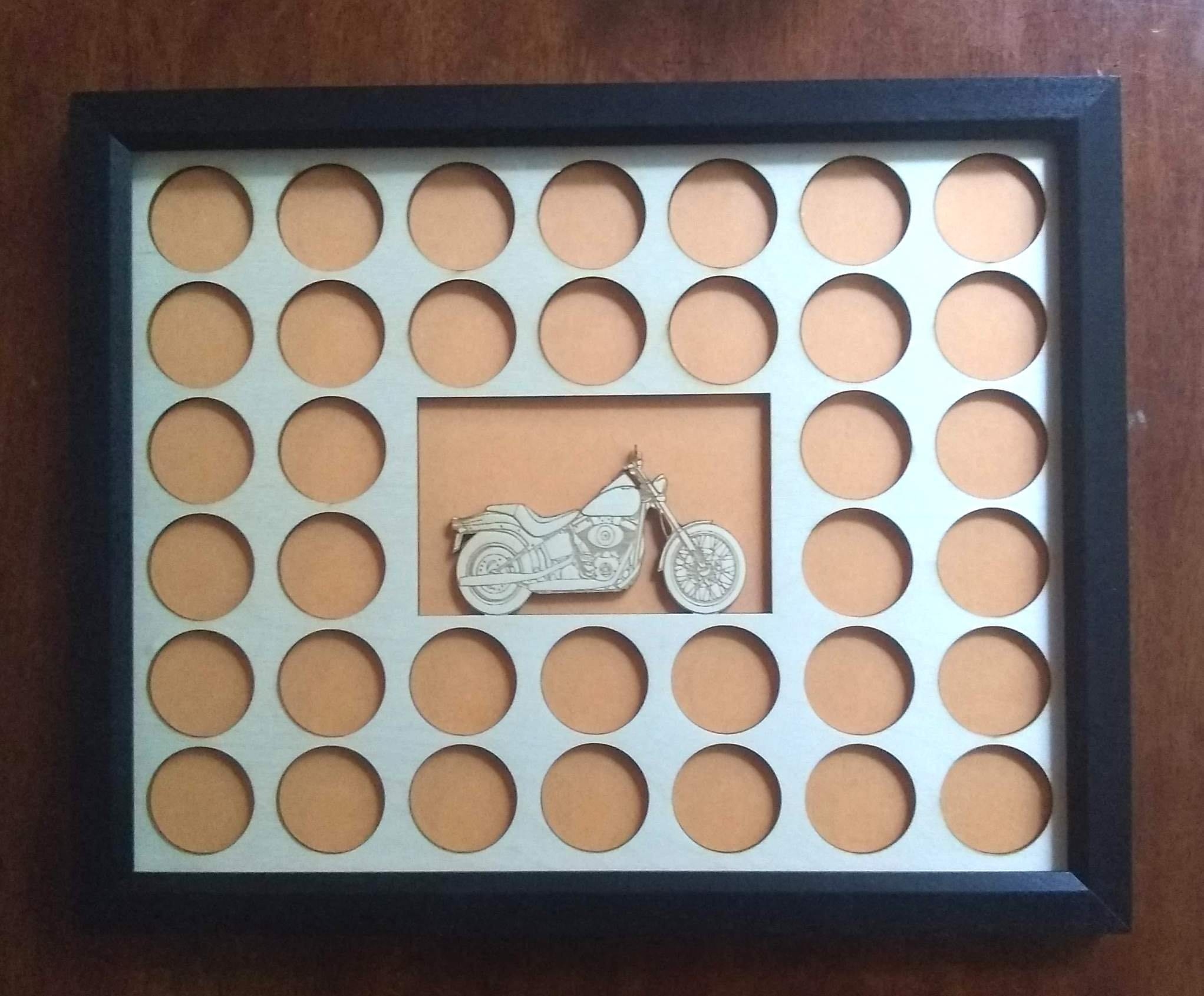 Custom Poker Chip Frame Display For 36 Harley-Davidson chips Christmas Gift Engraved chip insert with bike cut-out and black frame