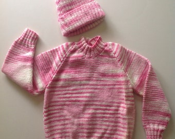 Handmade Knitted Wool Child's Jumper and Hat