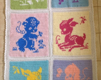 Baby Animals Handcrafted Crochet Blanket