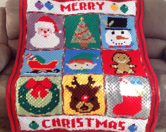 Handmade Merry Christmas Character Crochet Blanket