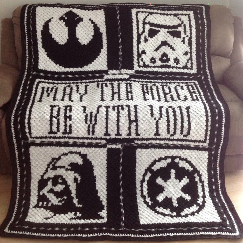 Handmade May The Force Be With You Star Wars Crochet Blanket Etsy