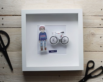 Framed Dolls - Handmade Illustrated Dolls in White Frame