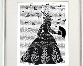 Deer Print Deer art - Black deer - Deer décor deer painting deer picture deer wall art deer poster gift for mom black and white art print