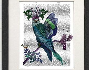 Decorative art print Blue Falcon Print blue wall art fantasy bird print beautiful art butterfly print whimsical art poster bird gift for mom