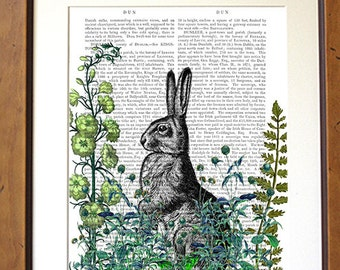 Rabbit Print - Rabbit in the Garden print - Rabbit art gardening gift gardeners gift rabbit gift floral print flower art country style art