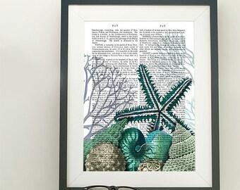 Starfish print art  - Starfish Under the Sea - Starfish beach Ocean print Coastal print Nautical print decor Large beach wall art Ocean art