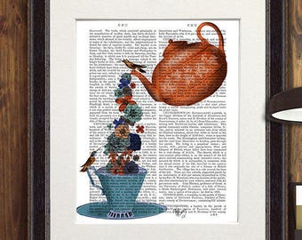 Teapot print & Flowers Orange Blue Teapot drawing teapot illustration teacup print teacup wall art kitchen art hostess gift idea mothers day