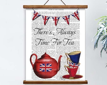 Gift for tea lover - Time for Tea - Tea party British tea party British flag Kitchen signs Funny gift mom Dining room decor Cute gift