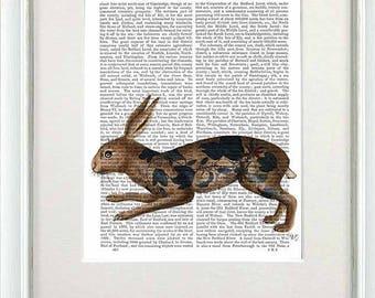 Hare print - Hare & black leaves - hare art rabbit art print rabbit print Rabbit décor Rabbit Illustration Rabbit wall art bunny print gift