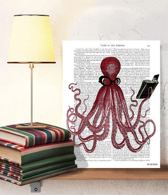 geekery the intelligent octopus print dorm room decor etsy
