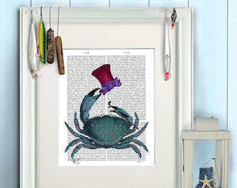 Funny gift for boys - The Dandy Crab - Crab wall art Gift for boyfriend Beach house decor Coastal art Nautical print Bathroom print poster