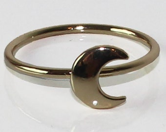 Ring moon gold plated
