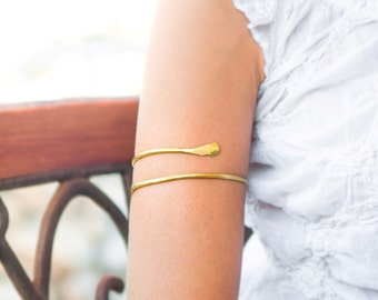 d842442971d Gold Arm cuff, Upper arm bracelet, Brass Armlet, Gypsy boho style arm  jewelry, Forearm bracelet, Sexy arm cuff, body jewelry, Made to order