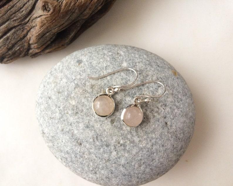 Rose quartz earrings Natural Rose quartz sterling silver earrings Rose quartz set Round pink stone earrings dangle gemstone earrings