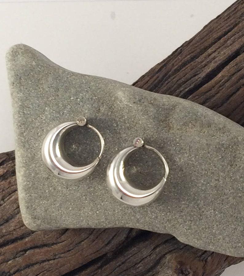 8ce9490a0 Silver indian hoop earrings silver chubby hoops Boho | Etsy