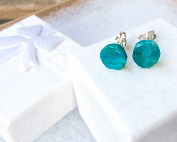 gift for her Greek jewelry Small gold earrings with Chrysocola stones drop earrings gold stud earrings minimal earrings