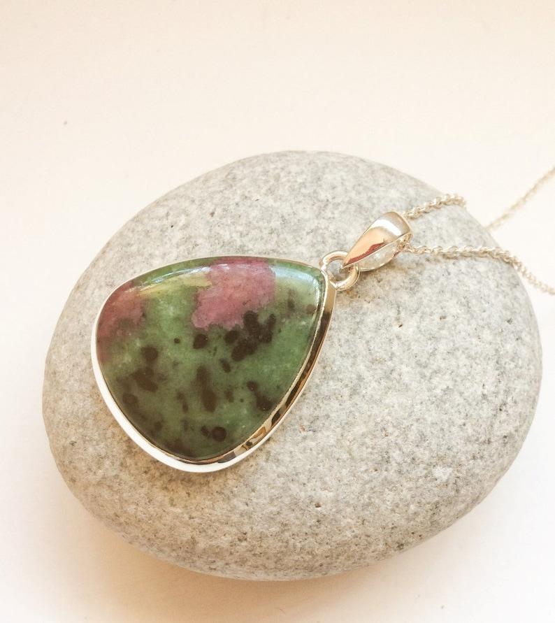 Ruby Zoisite pendant Ruby silver jewelry Tiny Ruby pendant Watermelon Ruby Natural Ruby Zoisite sterling silver pendant teardrop shape