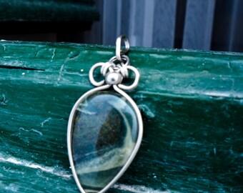 Green Jasper pendant, Men's pendant, drop shape, green gemstone, German silver pendant, dark green and grey, Rustic, Boho, For Men, gift