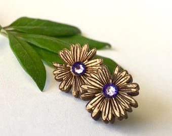 Wooden Daisy Earrings with Purple Swarovski Crystals