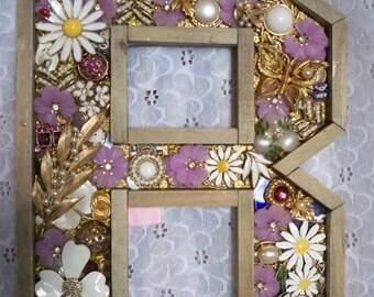 Bejeweled Barn Wood Letter R Wall / Desk Art
