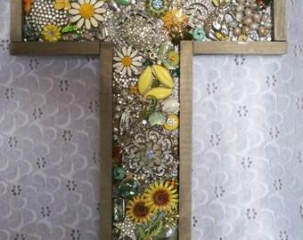 Bejeweled Letter T Wall / Desk Art