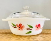 1960s Anchor Hocking Peach Blossom Quart Dish with lid