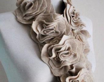 Floral, handmade, felt scarf.