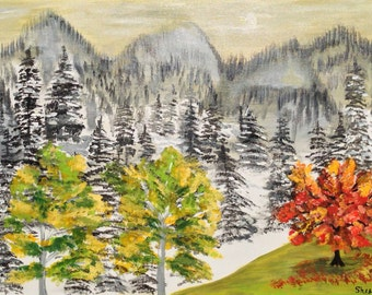 Fall Winter fusion-Acrylic on Canvas-Modern,Bright,Abstract painting,Modern,Landscape
