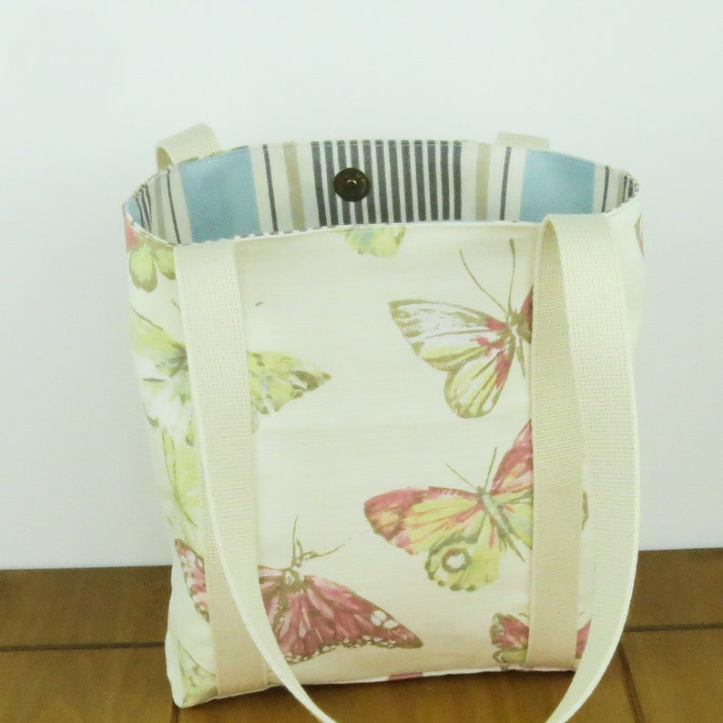 Planner tote bag Gift for girls butterfly handbag with zip pocket Birthday present for her small tote bag Bible tote bag made to order