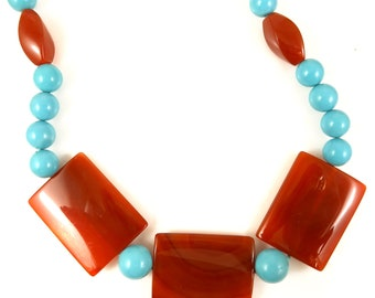 Carnelian and Turquoise gemstone necklace