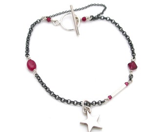 Oxidised sterling silver bracelet with ruby, garnet and a handmade star charm